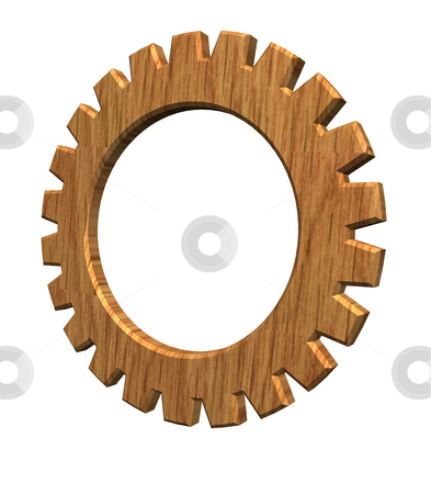 Wooden gear stock photo, 3d gear wheel wooden by J?