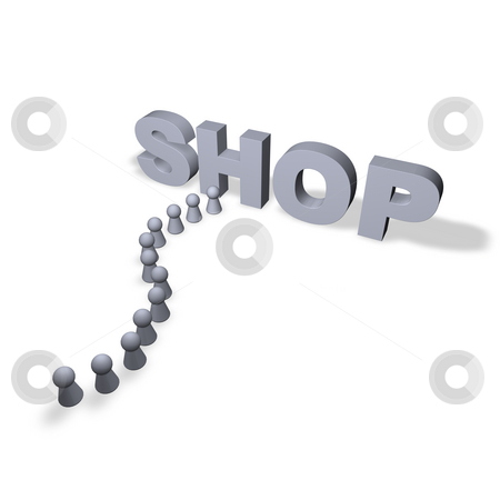Shopping stock photo, Shop text in 3d and play figures by J?