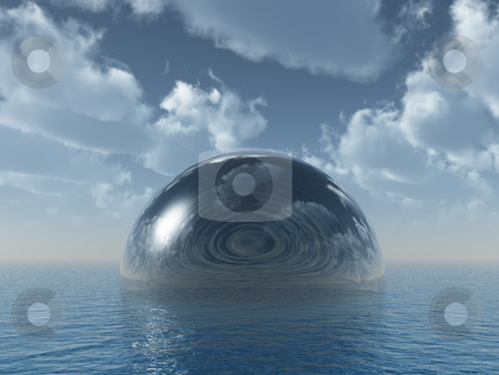 Glass dome stock photo, Glass dome at the ocean - 3d illustration by J?