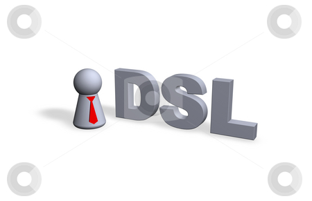 Dsl stock photo, DSL text in 3d and play figure with red tie by J?