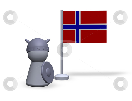 Norway viking stock photo, Play figure viking and norway flag by J?