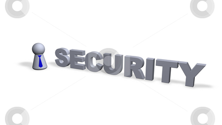Security stock photo, Security text in 3d and play figure with blue tie by J?
