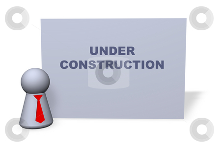 Under construction stock photo, Play figure with red tie and sign