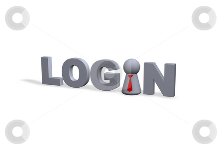 Login stock photo, Login text in 3d and play figure with red tie by J?