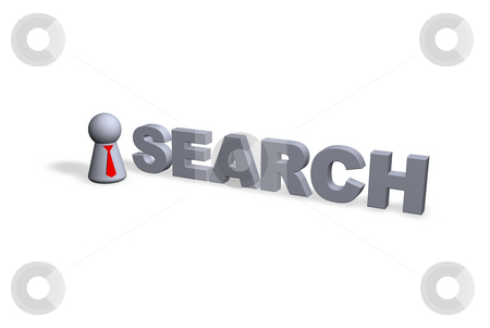 Search stock photo, Search text in 3d and play figure with red tie by J?