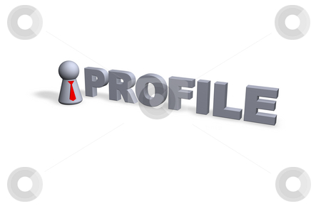 Profile stock photo, Profile text in 3d and play figure with red tie by J?