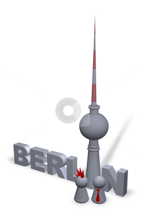 Berlin stock photo, Berlin text in 3d, the tv-tower and play figures punk and businessman by J?