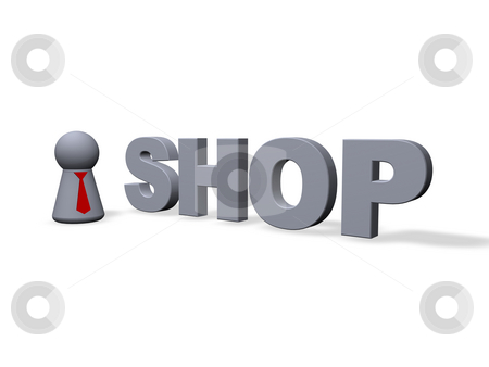 Shop stock photo, Shop text in 3d and play figure with red tie by J?