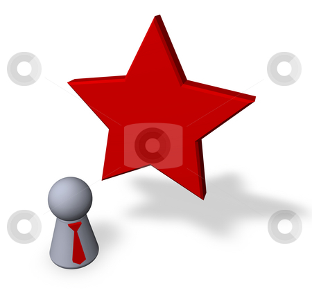 Red star stock photo, Red star and play figure with red tie by J?