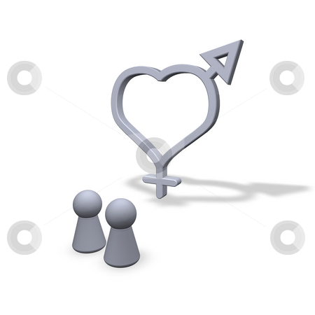 Love stock photo, Play figures and symbols male female at heart by J?
