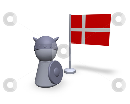 Denmark viking stock photo, Viking play figure with denmark flag by J?