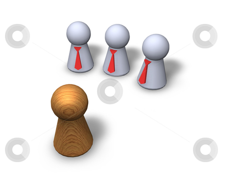 Contrasts stock photo, Play figures - one wooden and three with red tie by J?