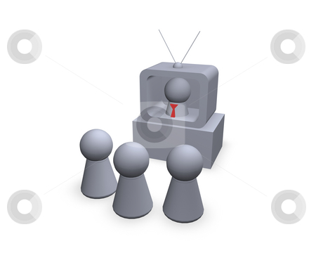 Tv news stock photo, Play figures - viewers and speaker in the tv by J?