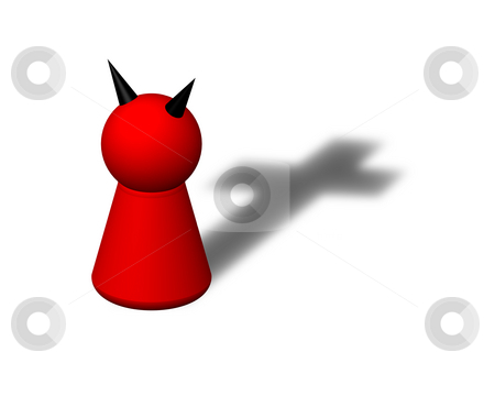 Liar stock photo, Play figure devil with cross shadow by J?