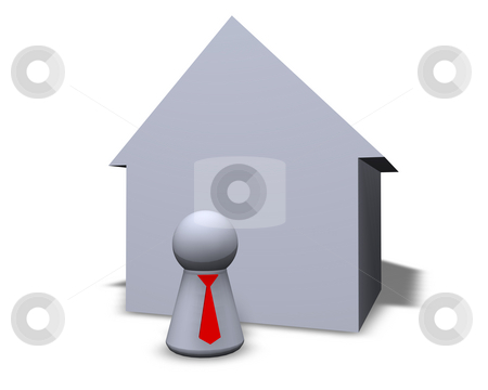 Broker stock photo, Play figure with red tie and house by J?
