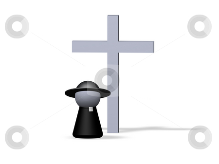 Religion stock photo, Play figure priest and holy cross by J?