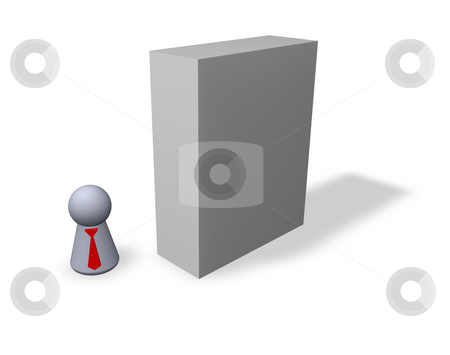 Blank packing stock photo, Play figure businessman with red tie and blank software packing by J?
