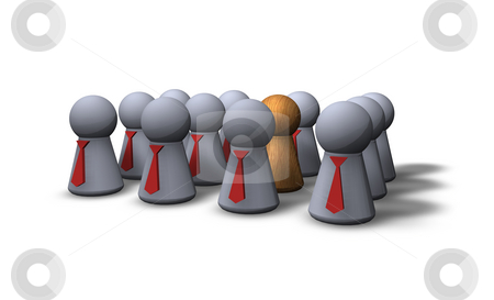 The other stock photo, Play figures businessmen with red tie and one wooden by J?