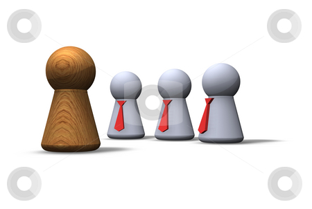 Contrasts stock photo, Play figures - wooden and with red tie by J?
