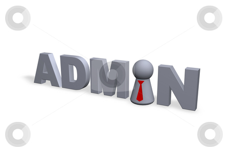 Admin stock photo, Admin text in 3d and play figure with red tie by J?