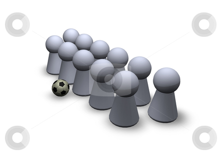 Soccer stock photo, Play figures soccer team and ball by J?