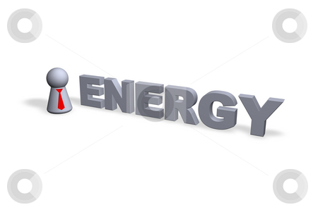Energy stock photo, Play figure businessman with red tie and energy text in 3d by J?