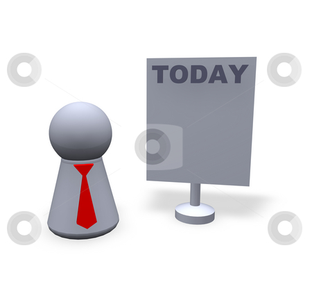 Today stock photo, Play figure with red tie and sign with today text by J?