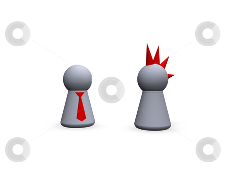 Contrasts stock photo, Play figures punk and businessman by J?