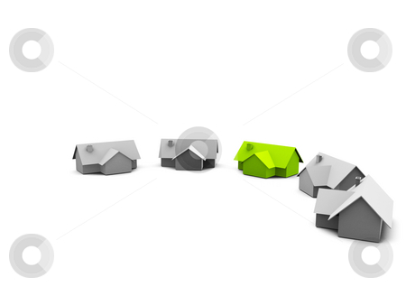House stock photo, A group of houses on a white screen by Jan Schering