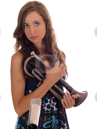 Young woman teen with old trumpet and mic stock photo, Young teen girl holding old cornet (trumpet) with microphone by Jeff Cleveland
