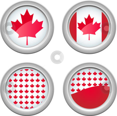 Canada Buttons stock vector clipart, Canada Buttons for 1st of July by Augusto Cabral Graphiste Rennes