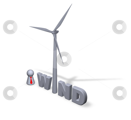 Wind power stock photo, Wind text in 3d, wind turbine and play figure businessman by J?