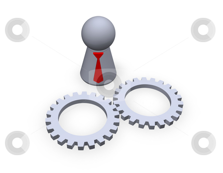 Technology stock photo, Play figure with red tie and two gear wheels by J?