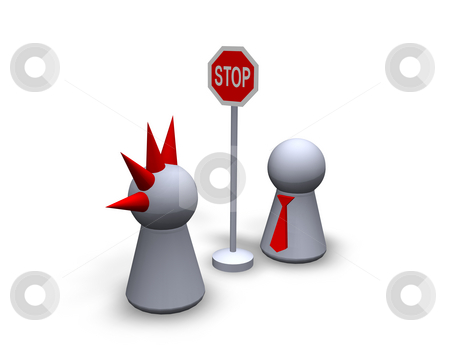 No entry stock photo, Play figures punk and businessman and roadsign