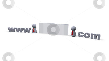 Dot com stock photo, Www dot com text in 3d , blank sign for name and play figures with red tie by J?