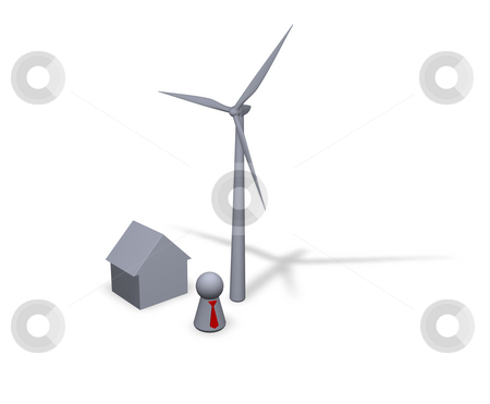 Wind power stock photo, Wind turbine, house and play figure with red tie by J?