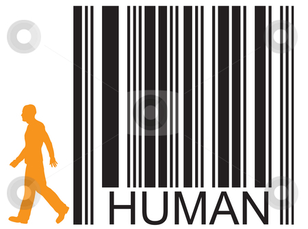 Human stock photo, Barcode human and walking man by J?