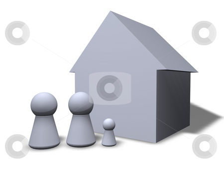 Family's home stock photo, Play figures family and their house by J?