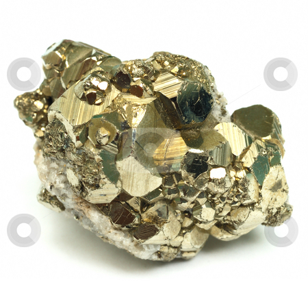 Pyrite stock photo, A close up of iron pyrite mineral isolated on white background. by Denis Radovanovic