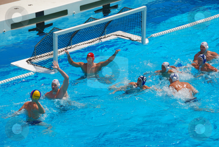 STANFORD, CALIFORNIA - JUNE 7, 2009 : USA:SERBIA friendly waterp stock photo, STANFORD, CALIFORNIA - JUNE 7, 2009 : USA:SERBIA friendly waterpolo game at the Avery Aquatic Center. by Denis Radovanovic