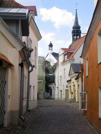 Tallin's old town stock photo, Narrow street with colorful houses in the old town of Tallinn, Estonia by Alessandro Rizzolli