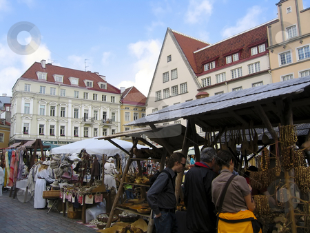 Market in Town Hall Square stock photo, Traditional market in Tallinn's main square by Alessandro Rizzolli