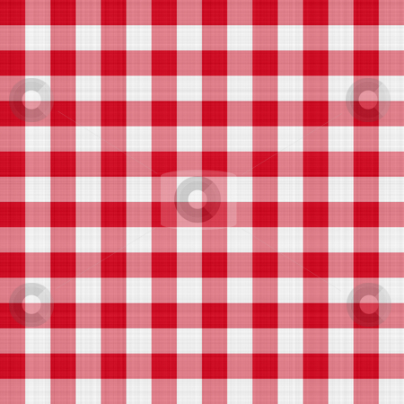 Red table cloth stock photo, Seamless texture of red and white blocked tartan cloth by Wino Evertz
