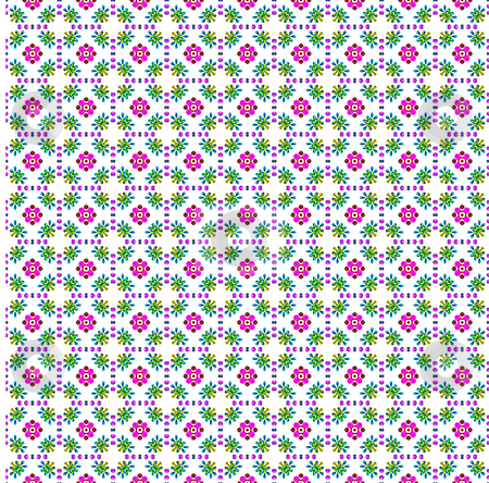 Flower print cloth stock photo, Texture of repeating pink flower shapes on white by Wino Evertz