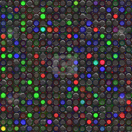 Plastic blocks pattern stock photo, 3d silicon texture of glossy black shapes with colorful spots by Wino Evertz