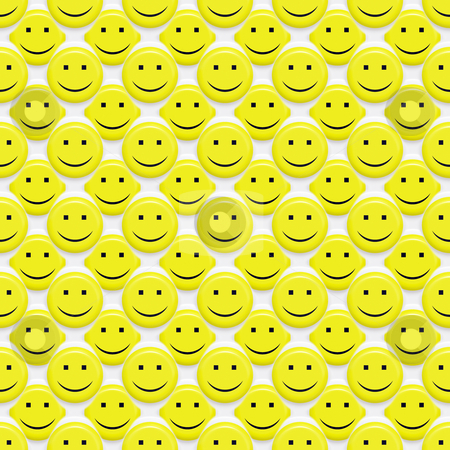 Smiley pattern stock photo, Seamless texture of many 3d yellow smiley faces by Wino Evertz