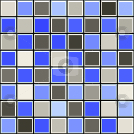 Blue and grey tile pattern stock photo, Seamless 3d texture of square tiles with black mortar by Wino Evertz