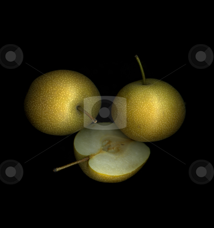 Asian Pears stock photo, Assortment of fresh organic Asian pears isolated on black background by Christian Slanec