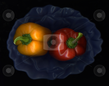 Peppers and Bowl stock photo, Fresh organic peppers in a kitchen bowl by Christian Slanec