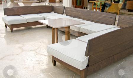 White wraparound sofa stock photo,  by Shi Liu